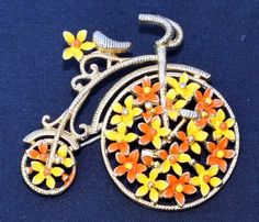 Vintage Signed LISNER Goldtone Enamel BICYCLE Pin Brooch | eBay