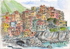 Exploring the Cinque Terre by boat | Urban Sketchers