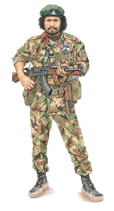 Nicaraguan ARDE guerilla with a Romanian version of Kalashnikov.