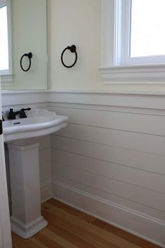 Home Decoration. Cool White Bathroom Vinyl Wainscoting Panels Design Installation With White Vessel Sink Ideas. Stylish Vinyl Wainscoting Panels Ideas For Home Wall Decoration Wainscoting Stairs, Wainscoting Bathroom, Downstairs Bathroom, Small Bathroom, Wainscoting Ideas, Bathroom Ideas, Wainscoting Height, Black Wainscoting, Painted Wainscoting