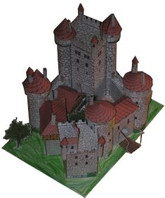 Maquette de château en papier carton à découper, plier et coller - Spend a rainy day putting this wonderful castle together with your child. The designer had children in mind when creating this medieval castle. He meant it to be a family project :)