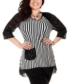 Another great find on #zulily! Black & White Stripe Pocket Tunic - Plus by Aster #zulilyfinds