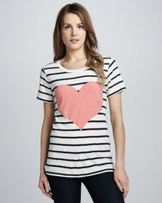 French Connection Striped Heart-Print Tee