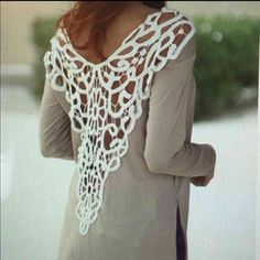 """L/S Scoop Neck w/Deep Plunge Back.            NWOT Look at this sexy top! This top has a slit up each side, has a scoop neck & Deep Lace Plunge back. Wouldn't this look amazing on that special lady in your life. She'll love this top & she'll feel sexy wearing it. It says it's a L but it's from overseas & runs small. You can judge by the measurements: Bust: 18"""" (pit to pit) Length: 30"""". Don't like the price? Make me a reasonable offer. No reasonable offers turned away.   SD12-24 Sweaters Crew…"""