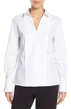 Ellen Tracy French Cuff Split Neck Poplin Shirt