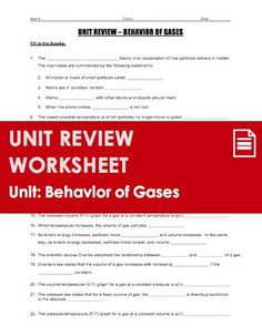 Unit Review - Behavior of Gases or Gas Laws