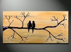 VALENTINE Gifts Golden Love birds on Branch HUGE by OritArt, $129.00