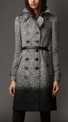 Long Dégradé Herringbone Trench Coat....someday