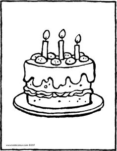 una tarta con 3 velas - dibujo - dibujo para colorear - lámina para colorear Colouring Pages, Coloring Books, Birthday Coloring Pages, Bujo Doodles, Pictures To Draw, Charlie Brown, Candles, Drawings, Diy