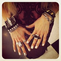 what-do-i-wear:    JUICY COUTURE dress and jewellery and JIMMY CHOO heels.(image:5inchandup) Fun Nails, Metallic Nails, Silver Nails, 5 Inch And Up, Jewelry Box, Jewelry Watches, Fashion Accessories, Jewelry Accessories, Hippy