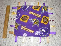 Minnesota Vikings Fleece Baby Sensory Blanket by GrandmaTsCrafts Sensory Blanket, Baby Sensory, Tag Blanket, Baby Nike, Small Baby, Security Blanket, Minnesota Vikings, Ribbon, Kids Rugs