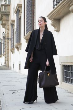Black Jumpsuit Alexoo | Coat aniye by | Bag Ysl | Heels from sarenza  www.ireneccloset.com