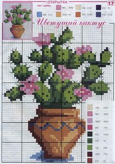 cactus counted cross-stitch pattern
