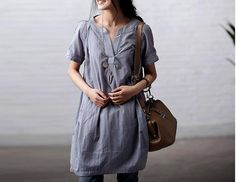 Blue loose cotton  Shirt  top / Cotton dress  / por clothingshow