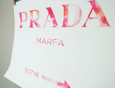 PRADA Art Prada Marfa Poster Watercolor Art Rose Pink by Fybur, $12.00
