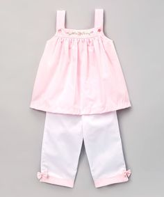 This Pink Embroidered Swing Top & White Capri Pants - Infant & Toddler is perfect! #zulilyfinds