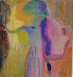 "Frantisek Kupka, ""Woman Cutting Flowers IV,"" 1909-10, pastel on gray paper, 16 1/2 x 15 3/8 in (42 x 39 cm),  Musee National d'Art Moderne, Centre Pompidou, Paris"