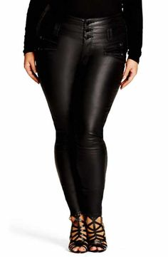 9440150193 City Chic Coated Corset Skinny Jeans (Plus Size) Leather Skinny Jeans