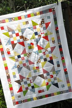 "Great layout and colors in this ""Scrap Jar Stars"" quilt by Jodi Nelson of Pleasant Home."