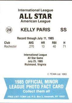 1985 TCMA International League All-Stars #28 Kelly Paris Back
