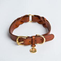 Dog Collar Hyde Park Braided Leather Cognac, fra Cloud7