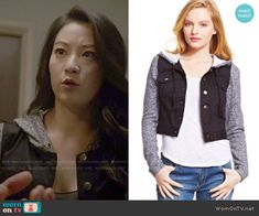 Kira's black hooded denim jacket on Teen Wolf. Outfit Details: http://wornontv.net/50430/ #TeenWolf