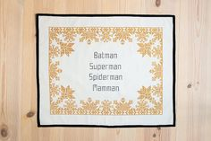 Create your own cross stitch embroidery with your own text using our inspiring patterns. Decorate your home with a unique and personal cross stitch design. Superman, Batman, Embroidery Kits, Cross Stitch Embroidery, Cross Stitch Designs, Cross Stitch Patterns, Nerd Decor, Textiles, Arts And Crafts Supplies