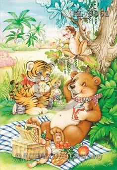 Interlitho, Michele, CUTE ANIMALS, paintings, bear, tiger, picnic(KL3361,#AC#) illustrations, pinturas