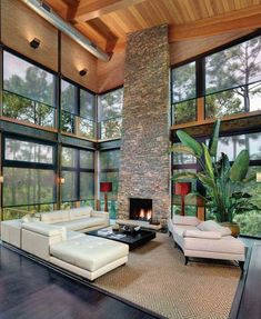Awesome Exterior Motorized Solar Shades : Amazing Contemporary Living Room With Exterior Motorized Solar Shades And High Ceiling Plus Natura.