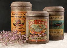 Vintage Spice Canisters (Set of 3) would make for charming vintage-inspired centerpiece holders!