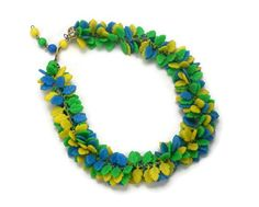 Hong Kong Colorful Plastic Leaf Cluster Necklace, Cha Cha Choker, Summer Jewelry, Green Blue Yellow