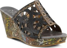 abee83b2c63a7 Womens LArtiste by Spring Step Zoe Slide - Black Multi Leather - FREE  Shipping  amp