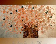 HUGE  ORIGINAL oil/acrylic Impasto floral  paintingshades of