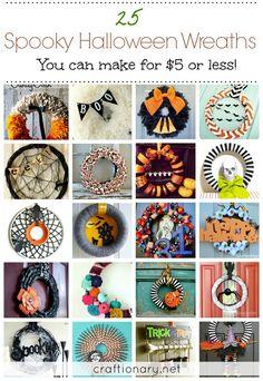 Spooky Halloween wreaths you can make under $5 #halloween #wreaths