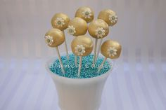 Fancy Gold and Blue Cake Pops