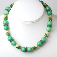 Louis Rousselet Vintage Jewelry - Jade & Ivory Galalith French Art Deco Puzzle Necklace