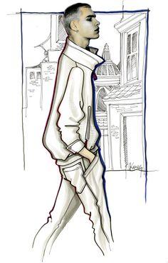 Design & Illustration by Paul Keng | Copic | Model: Jonathan Bauer-Hayden…