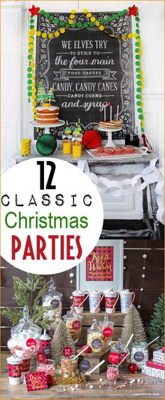 Classic Christmas Parties. December birthday party themes. Host an elf, hot cocoa, Charlie Brown, Grinch, ugly sweater or Christmas Story party.