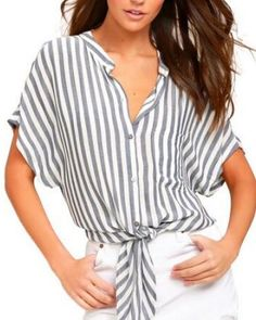 Gray striped shirt with pocket tie front top for women Front Tie Top, Grey Stripes, Nice Tops, Hiphop, Lady, Casual, Cotton, T Shirt, Cosplay