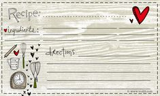recipe card --free printable