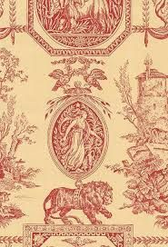 Empire Wallpaper Red and sandy beige Empire wallpaper Empire Wallpaper, Curtain Fabric, Curtains, Empire Style, Botanical Illustration, Fabric Patterns, Wall Prints, Damask, Fabric Design