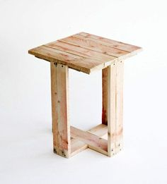 DIY Pallet Side Table or Stool.  Upcycle pallets into useful furniture.