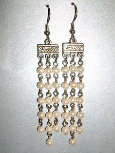 White chandelier earrings
