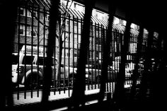 NYC high contrast black and white photograph of a taxi