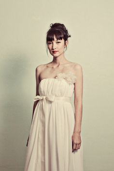 Vintage Inspired Chiffon Wedding gown - The Elaine Gown - Made to Order. $1,280.00, via Etsy.