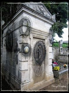 """The old cemetery in St. Antonin had alot of old French beaded funeral wreaths called """"Immortelles."""" The Immortelles would be left at the grave of the deceased. Immortelle, French General, French Beaded Flowers, Old Cemeteries, Effigy, Bead Art, Cemetery, French Antiques, Funeral"""