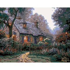 Plaid® Thomas Kinkade Foxglove Cottage Paint-by-Number Kit ~ once gorgeous scene is finished, turn on the tiny LED lights that shine thru canvas, enhancing windows and 7 streetlights ~ size 14 x x ~ KIT - PAINT-BY-NUMBER Plaid Paint By Number, Paint By Number Kits, List Of Paintings, Cottage Lighting, Thomas Kinkade, Cozy Cottage, Texture Art, Numbers, Original Art