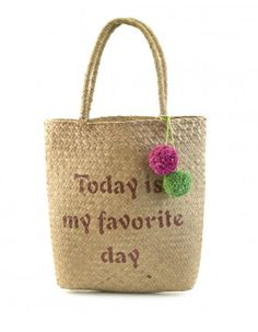 Capazo rafia pompones CREEKS Outlet, Beige, Straw Bag, Burlap, Reusable Tote Bags, Clay, My Favorite Things, My Love, Chico Xavier