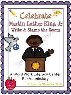 Celebrate Martin Luther King, Jr. Write / Stamp the Room Activity Pack from overthemoonbow on TeachersNotebook.com -  (19 pages)  - This engaging, history themed activity pack will help your students practice reading, writing, & vocabulary; a perfect complement to your seasonal activities!