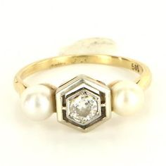 Antique Art Deco 14 Karat Yellow Gold Diamond Cultured Pearl Ring Fine Jewelry $495